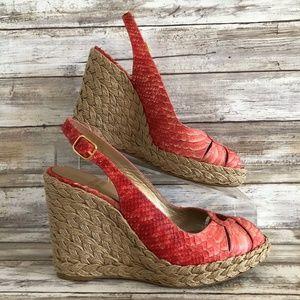 Stuart Weitzman Coral Pink Leather Wedge Sandals.